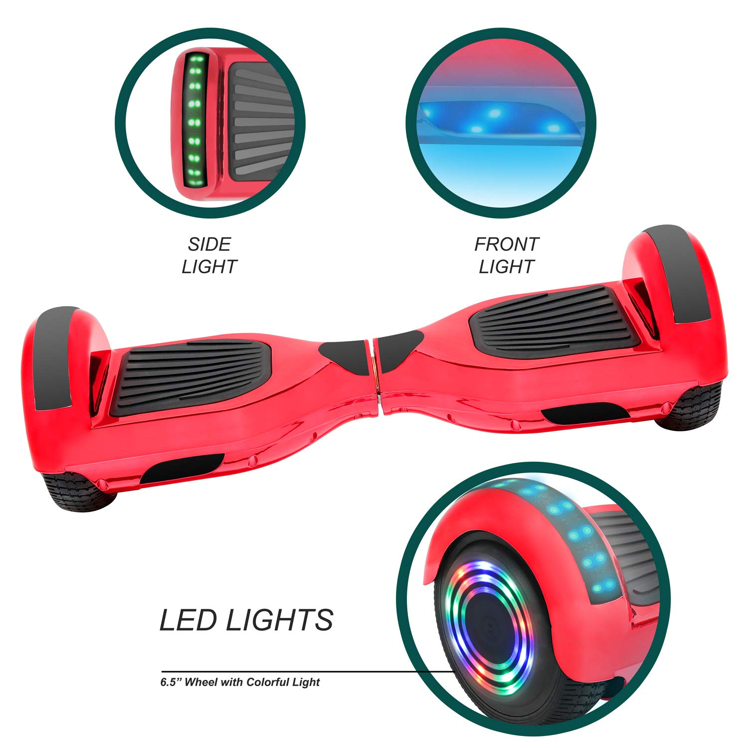 NHT 6.5'' Hoverboard Electric Self Balancing Scooter Sidelights - UL2272 Certified Black, Blue, Pink, Red, White (Chrome Red) by NHT (Image #2)