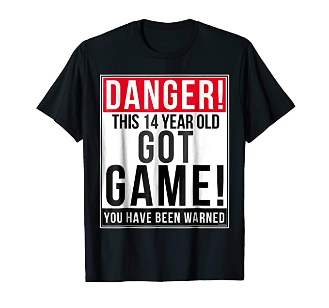 Mens Funny 14th Birthday Game T Shirt 14 Year Old Gift 2XL Black