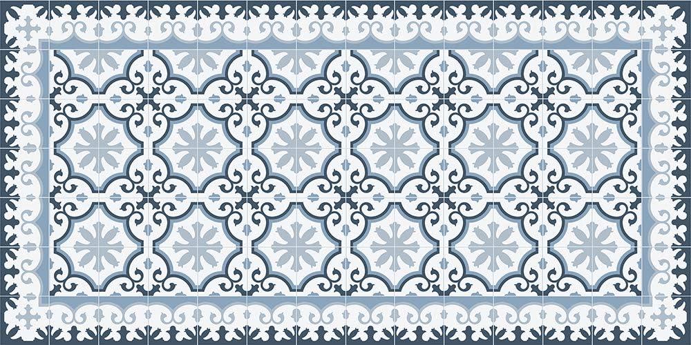Multicolor 66x180 VINILIKO Victorian Blue Alfombra de Vinilo