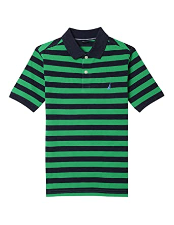 1ff2e7665 Nautica Boys' Big' Short Sleeve Striped Deck Polo Shirt, Harrison Bright  Green,. Roll over image to zoom in