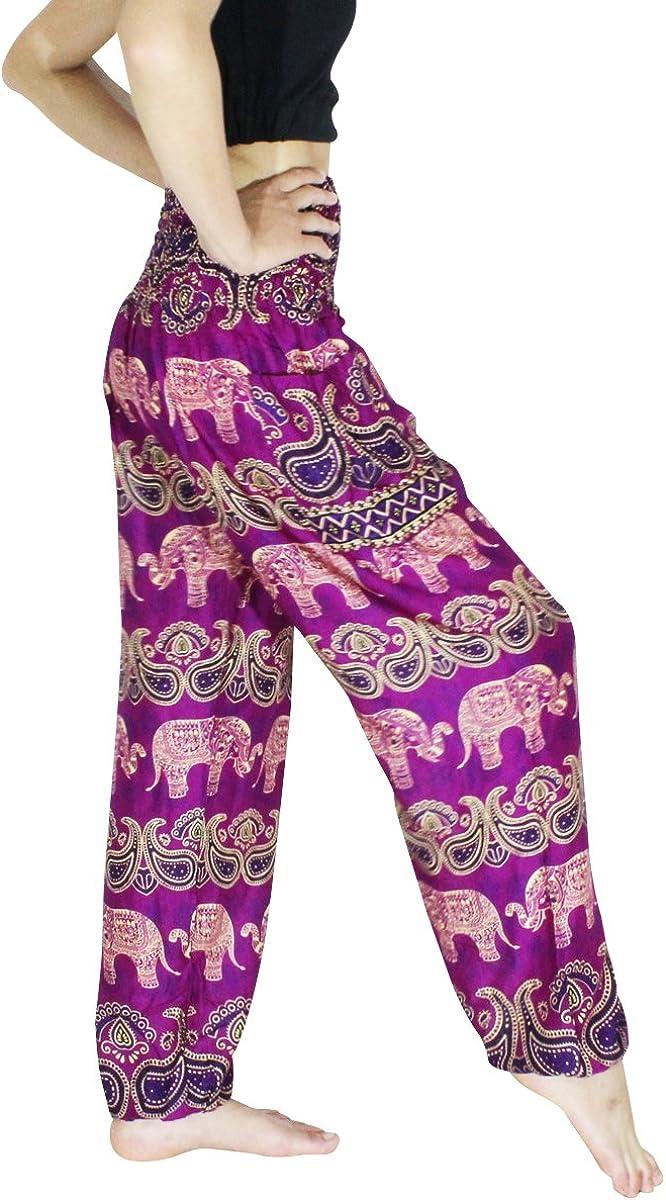 Banjamath/® Womens Smocked Waist Harem Hippie Boho Yoga Palazzo Casual Pants