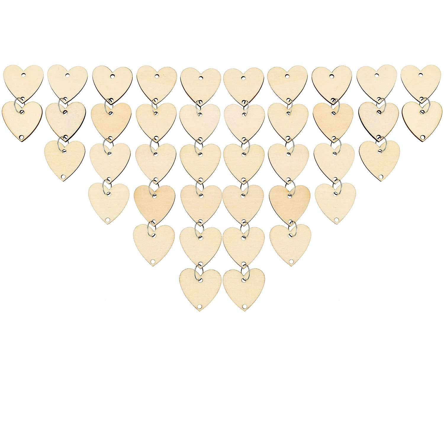 Bememo 100 Pieces Heart Shaped Wooden Discs Wood Tags with 2 Holes and 100 Pieces Rings for Birthday Board Calendar DIY Crafts Size 1