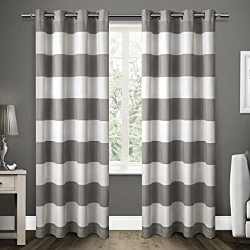 Exclusive Home Curtains Santa Monica Striped Grommet Top Window Curtain Panel Pair Black Pearl