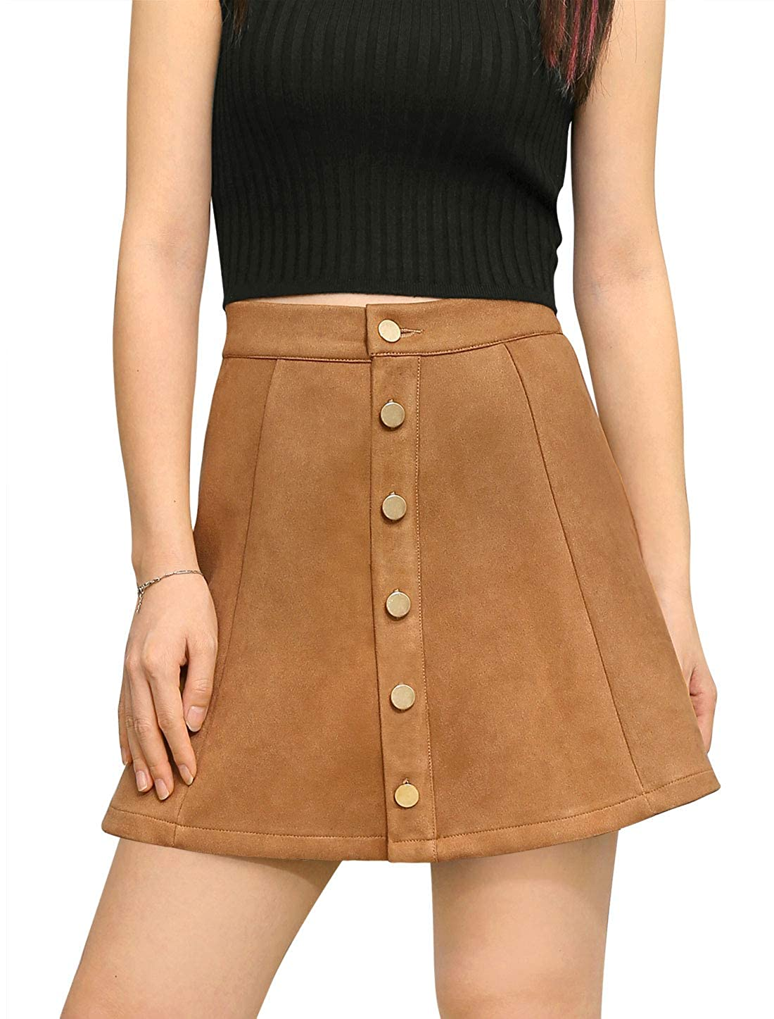 a1056aefd Allegra K Women's Faux Suede Single Breasted Front Button Down Short Mini A-Line  Skirt at Amazon Women's Clothing store:
