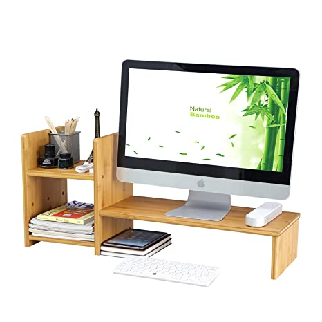 SONGMICS Bamboo Monitor Stand Computer Riser With 2 Tier Desktop Storage  Desk Organizer For Home