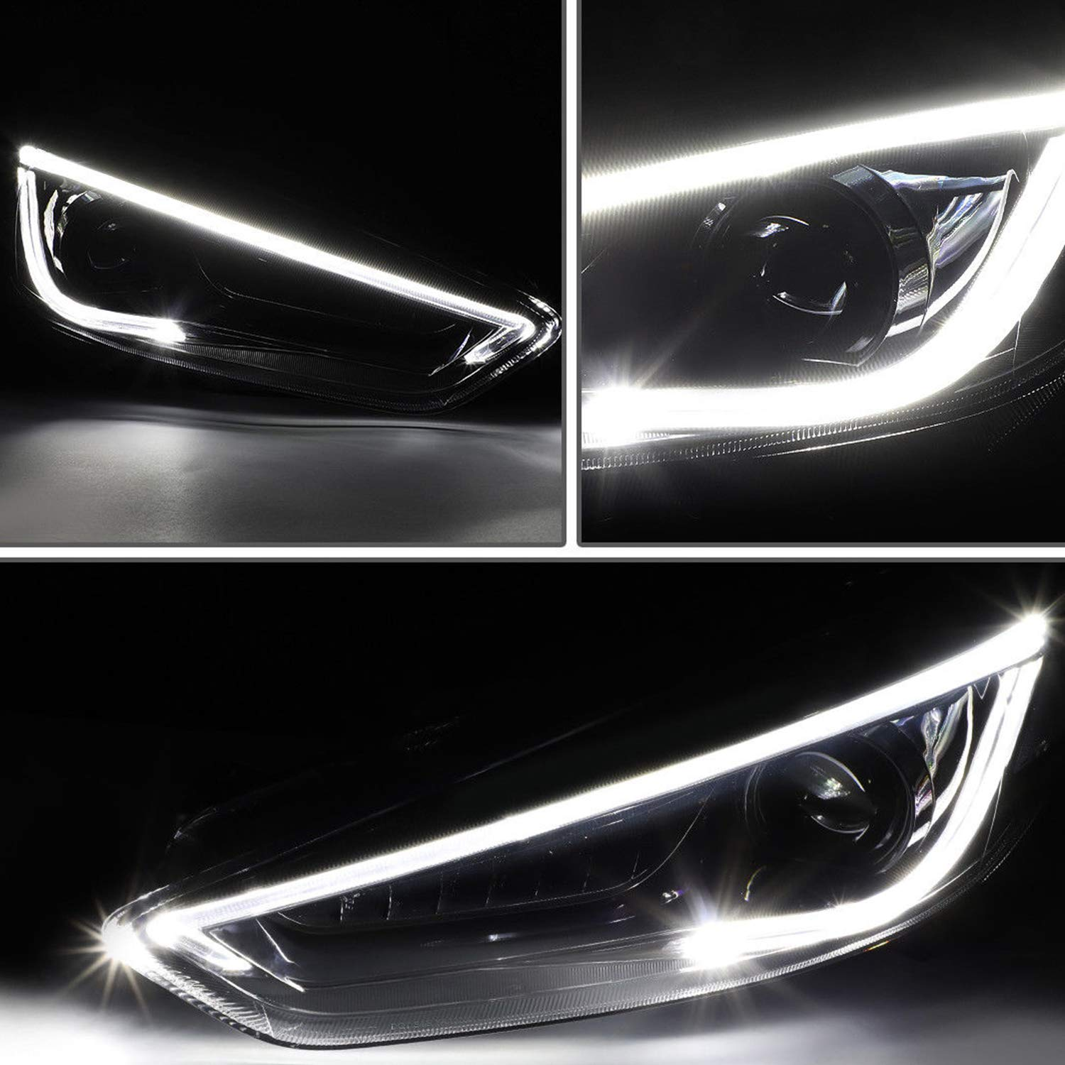 JDMSPEED New Headlight Head Led drl Halo projector Lamp RH And LH 2 Pcs For 2015-2017 Ford Focus