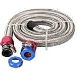 "CarBole Universal Steel Braided Fuel Line for 3/8""Tube Size with Red/Blue Clamps"