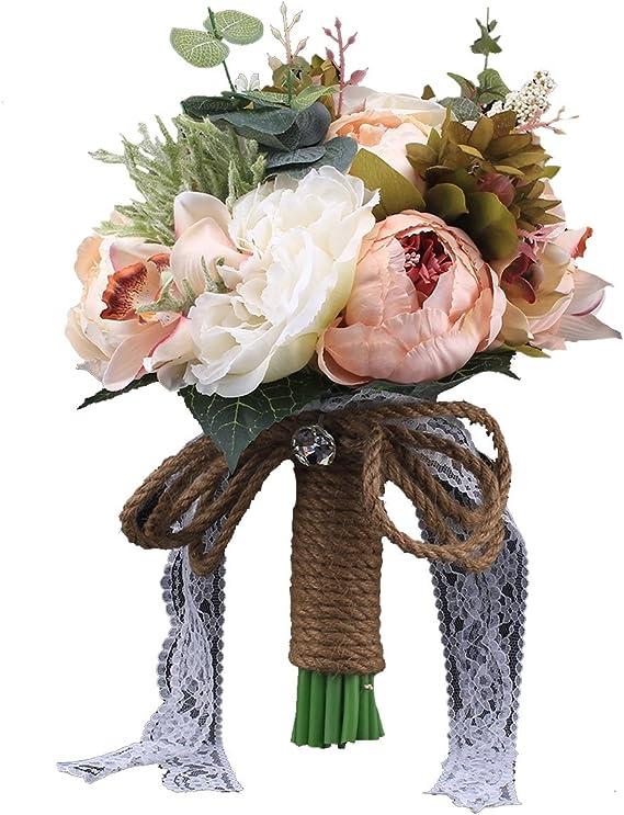Blush pink artificial bridal bouquet-silk bouquet-Wedding flower bouquet-Vintage style bouquet-Bouquet-Rustic bouquet-Anemone bouquet