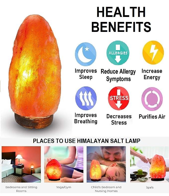 Himalayan Salt Lamp 2-3 Kg Himalayan Rock Salt Crystal Pink LAMP Natural Shape with Wooden Base and Cable, Bulb