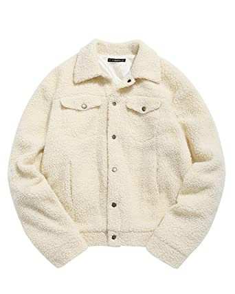 f9dc972025484 ZAFUL Mens Snap Button Faux Fur Coat Oversized Fluffy Winter Jacket with  Pockets Outwear (Apricot