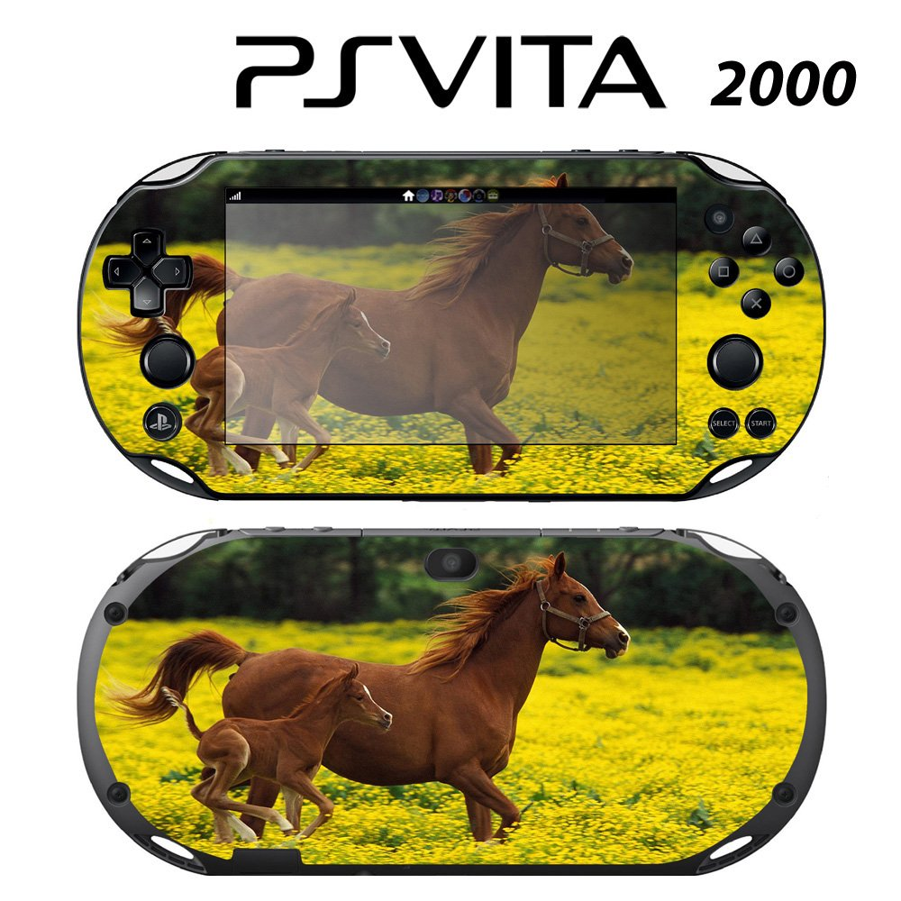 Decorative Video Game Skin Decal Cover Sticker for Sony PlayStation PS Vita Slim (PCH-2000) - Cute Baby Horse Running with Mom