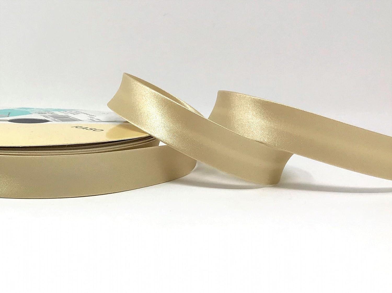 Soft Gold Byetsa Satin Fold 18mm Bias Tape on a 25m Roll
