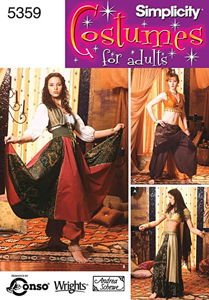 Simplicity Women's Gypsy and Belly Dancer Costume Sewing Patterns, Sizes  14-20