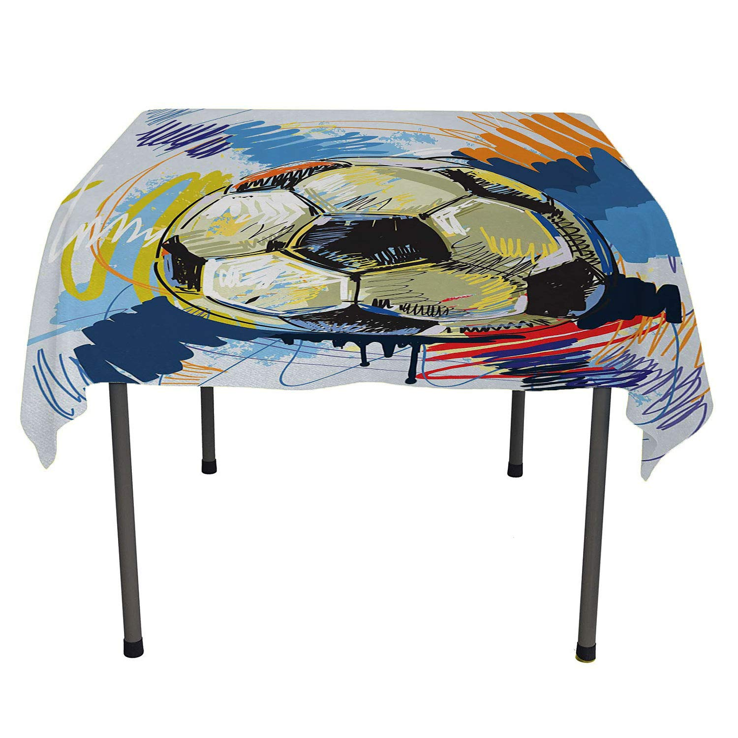 color03 60  W By 90  L All of better Soccer Outdoor Picnics Soccer Design Elements with Four Player Different Field Positions League Men Modern Multicolor Table coth Waterproof Spring Summer Party Picnic 60 by 84