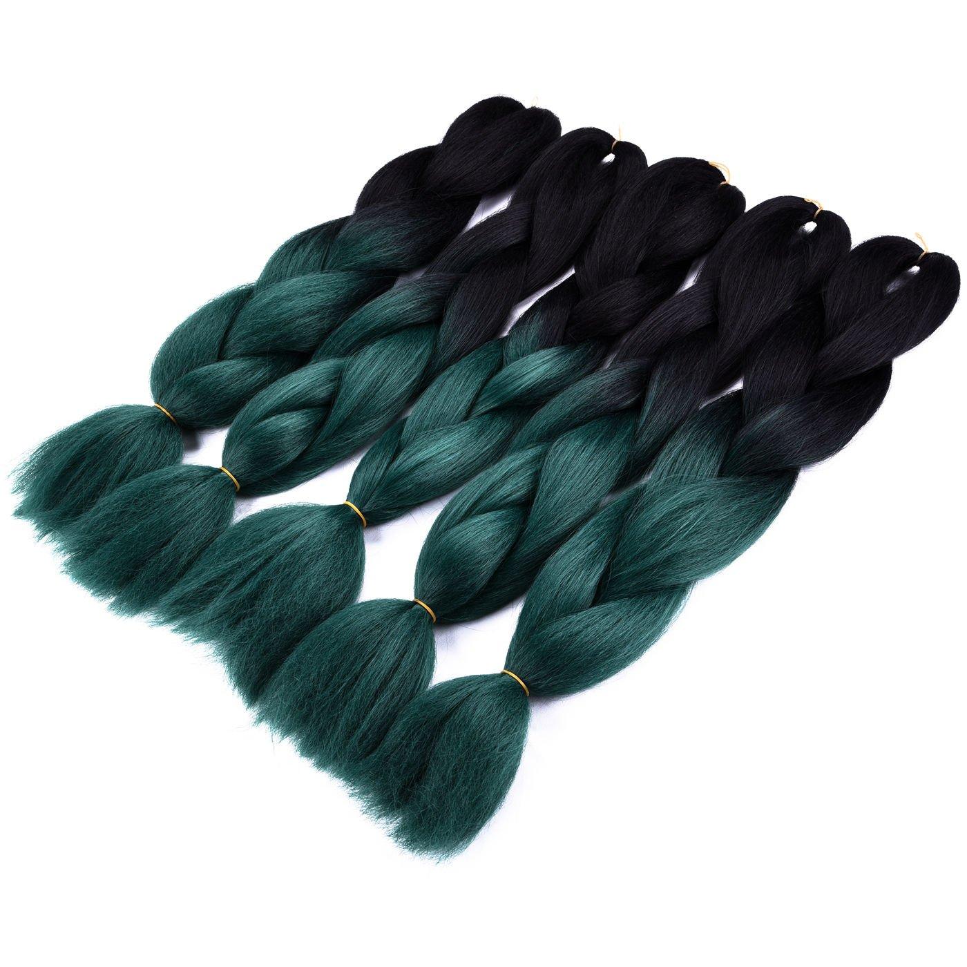 Silike Jumbo Braids Hair Extensions (5 Pieces) 24'' Ombre Jumbo Braid Kanekalon Hair For Beauty (Black/Dark Green)