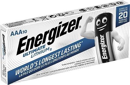 Energizer - Pack de 10 Pilas de Litio Ultimate Lithium L92 AAA, 1260 mah, Family Pack: Amazon.es: Electrónica