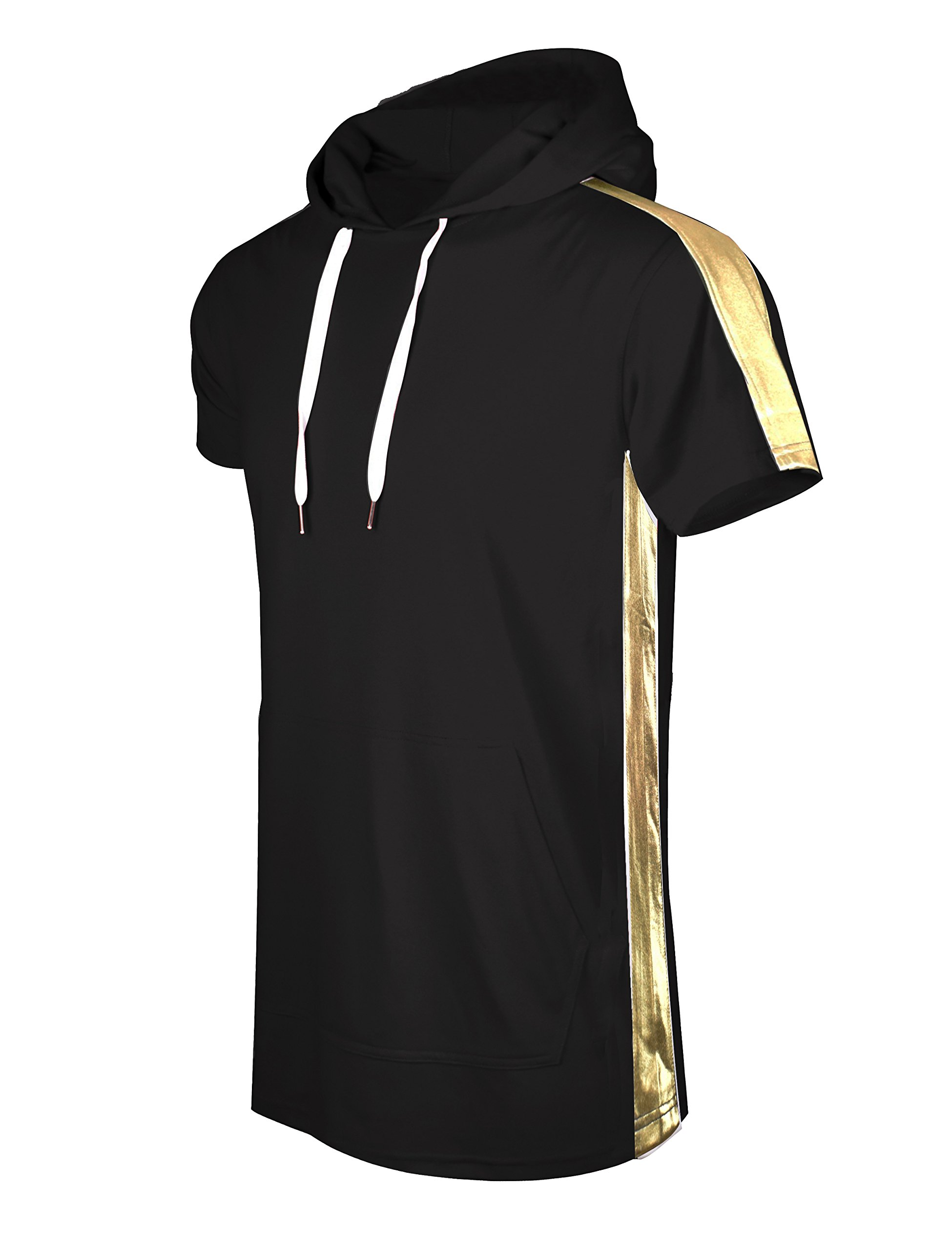 SCREENSHOTBRAND-S11850 Mens Hip Hop Longline Premium Tee - Pullover Short Sleeve Fashion Hooded Shirt Side Stripe Basic-Black/Gold-Medium by SCREENSHOT BRAND