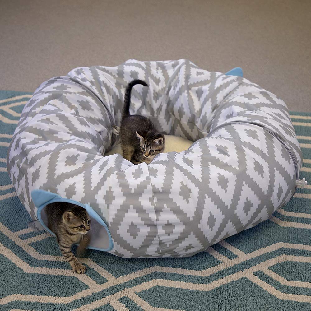 Kitty City Large 12'' Multifunction Cat Tunnel and with Central Mat for Cat, Cat Toy, Cat Bed