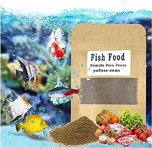 Demoyu Granular Aquarium Fish Food for Guppy Betta Tropical Goldfish Koi Grow Fast Healthy for Small Fish Feed Color Enhacin Fish Tank