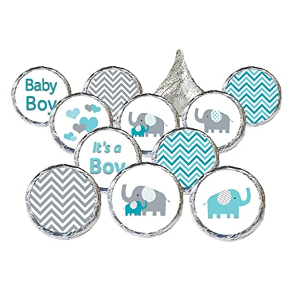 Buy Teal Blue And Gray Elephant Boy Baby Shower Stickers Set Of 324
