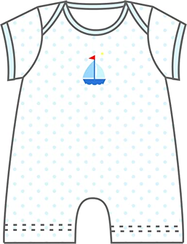 Magnolia Baby Baby Boy Sailboat Printed Sleeveless Short Playsuit Blue