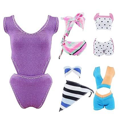 Custom, Handmade 5 Sets Barbie Doll Summer Bikini Swimwear Swimsuits Bathing Suits Beach Clothes
