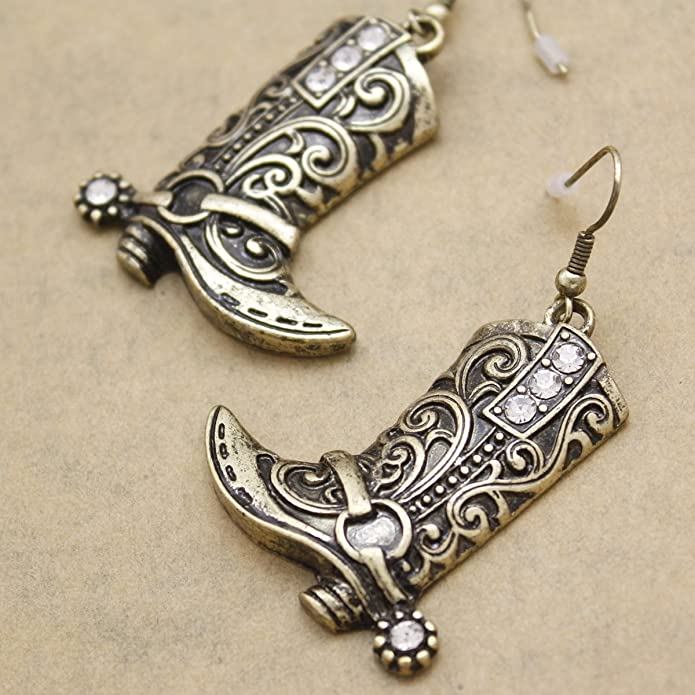 a87b02850 Amazon.com: RechicGu Vintage Gold Tone Western Wild West Cowgirl Texas  Boots Spur Rodeo Fancy Dress Costume Dangle Earrings: Toys & Games
