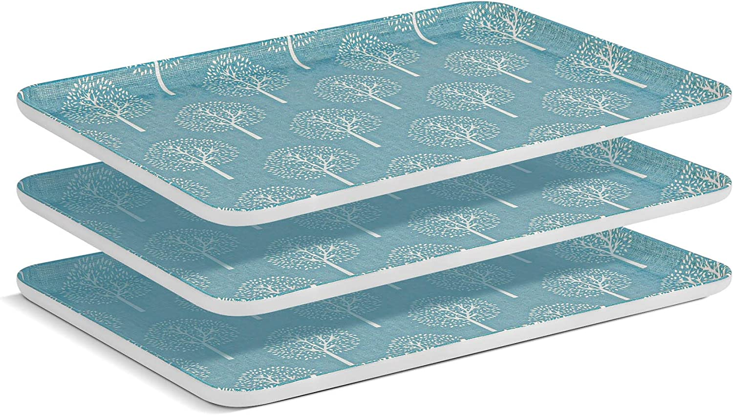 ComSaf Serving Tray Food-Grade Melamine 13 x 9 Inch (3pcs), Serving Platters Rectangle Food Tray, Plastic Decorative Non-Slip Serve Tray for Coffee Table, Kitchen, Restaurant,Party, Buffet, Blue