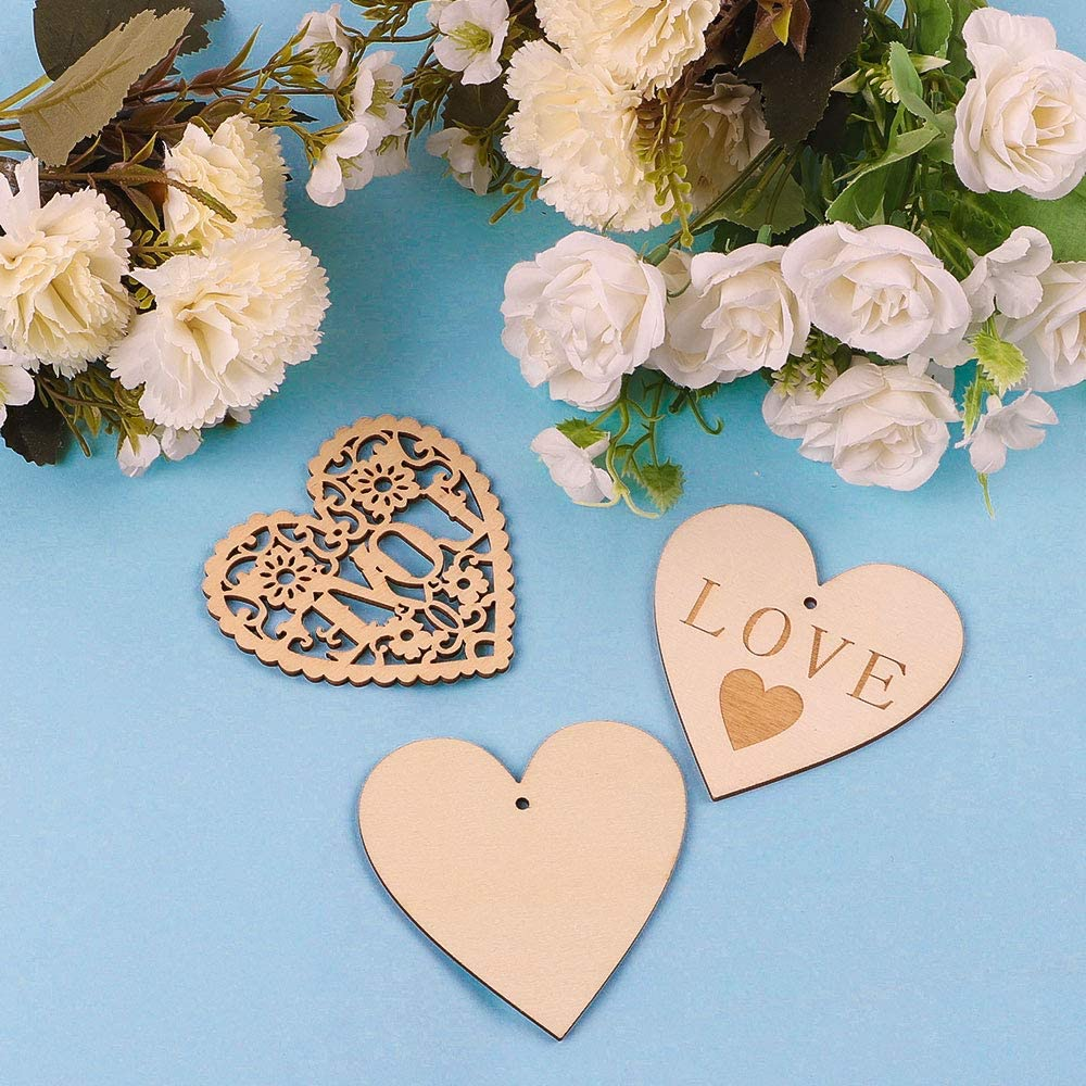 3.15 Inch Wood Heart Embellishments DIY Craft for Valentines Day Wedding Decorations CEWOR 60pcs Wooden Heart Shaped Slices with Twine 2 Styles