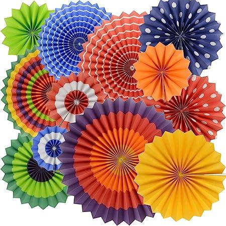 BeiLan abanicos de Papel Multicolor decoración para celebración Fiesta cumpleaños Boda (Paquete de 12)