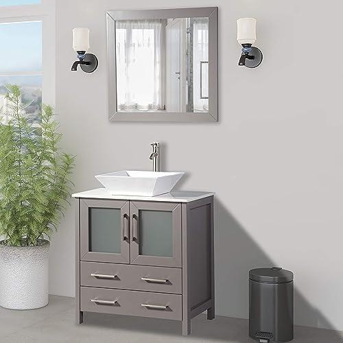 Vanity Art 30 inch Single Sink Small Bathroom Vanity Set 2-Drawers, 1-Shelf Quartz Top and Ceramic Vessel Sink Bathroom Cabinet with Mirror – VA3130-G