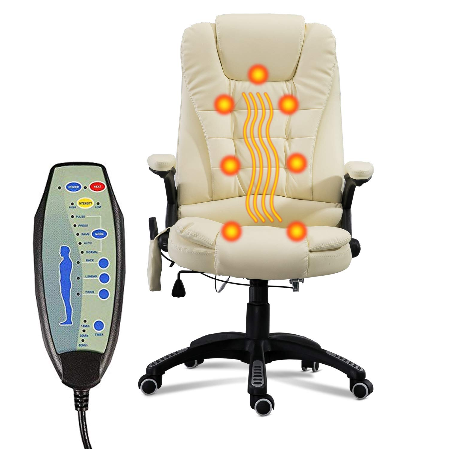 windaze Massage Chair Office Swivel Executive Ergonomic Heated Vibrating Chair for Computer Desk(Beige) by windaze