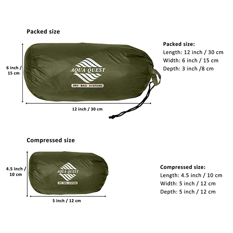 Aqua Quest Guide Tarp Large 13 x 10 ft Olive Drab - Ultralight Waterproof Rip-Stop Sil Nylon Backpacking Rain Fly Shelter