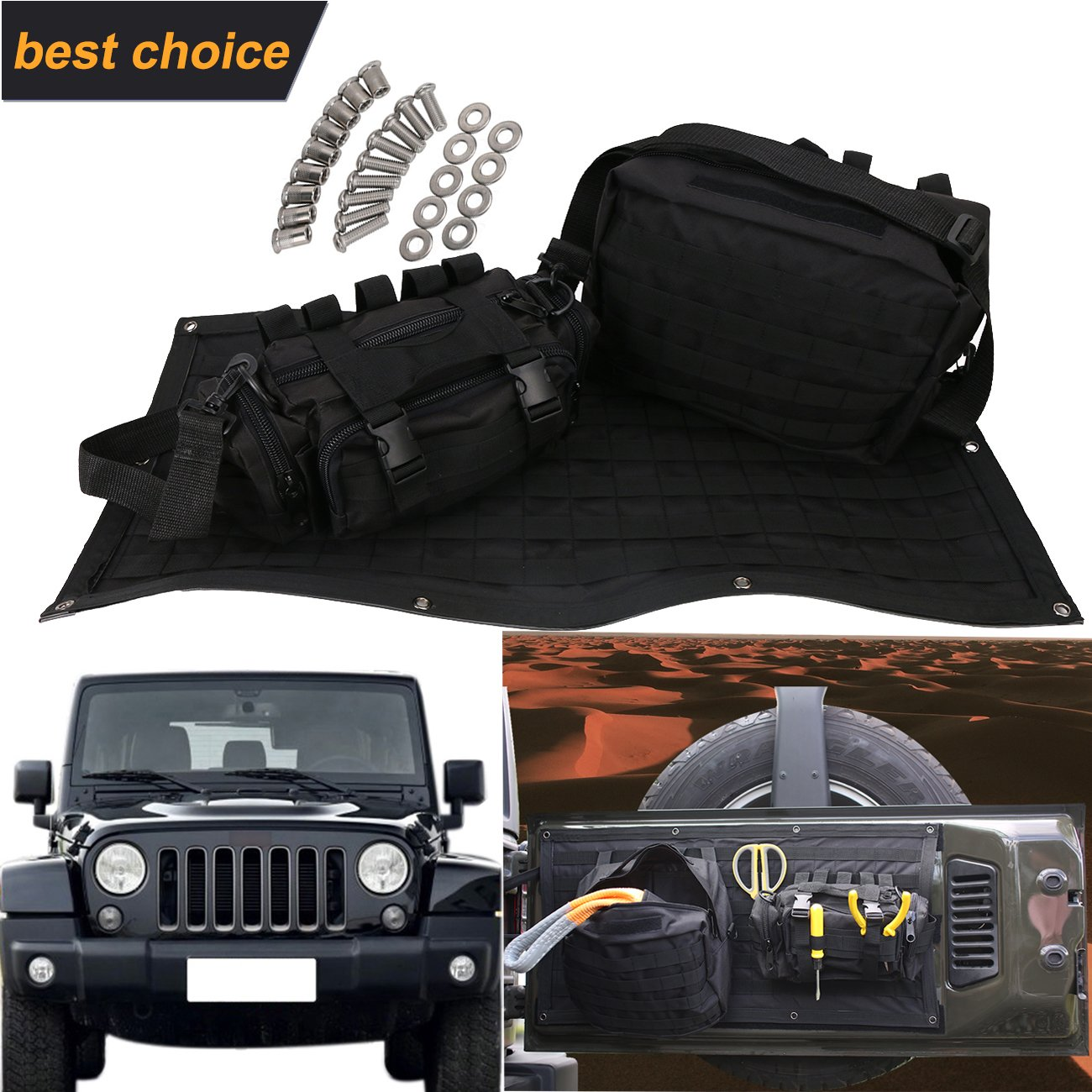 Tailgate Multi-Pockets Storage & Tool Cargo Carrier Bags for Jeep Wrangler JK 2007-2017 Waterproof by Espear