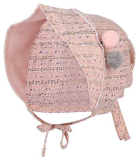 07c367ffb13 Gemvie Summer Baby Cotton Hat Lace-up Beanie Adjustable Cap Newborn Sun Hat  Pink