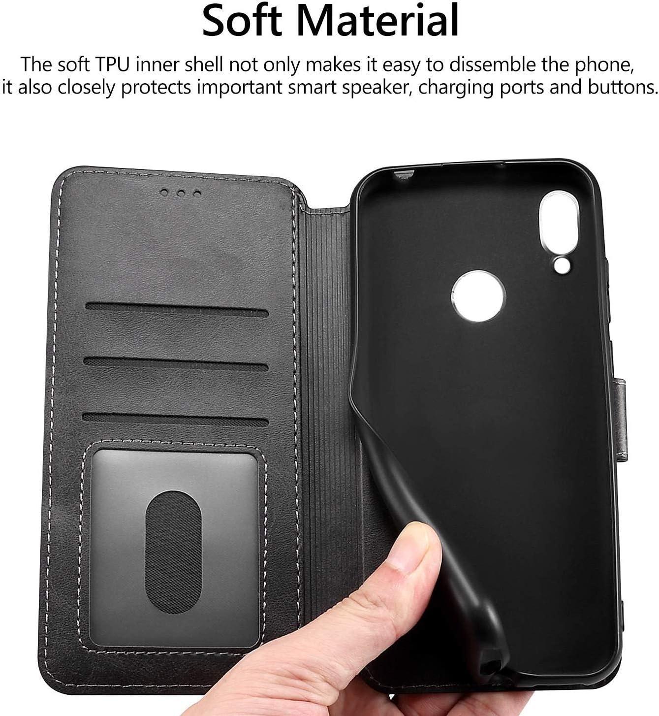 , Fermeture magn/étique Kickstand All Do Coque pour Huawei Nova 5T//Honor 20,avec Protection Ecran,/Étui en Cuir avec Housse Portefeuille Magn/étique Fentes pour Cartes Noir
