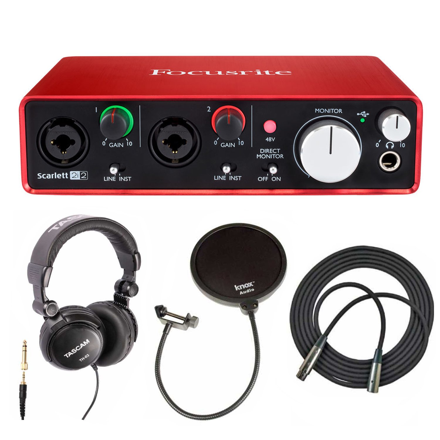 Focusrite Scarlett 2i2 USB Audio Interface (2nd Gen) Includes Pro Tools First with Headphones, Knox Pop Filter and XLR Cable