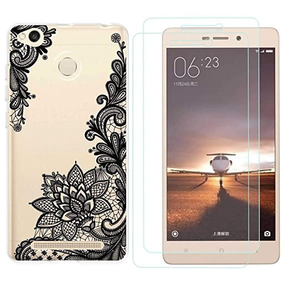 new arrivals 632f1 01c3b Amazon.com: Xiaomi redmi 3S Case with 2 Pack Glass Screen Protector ...