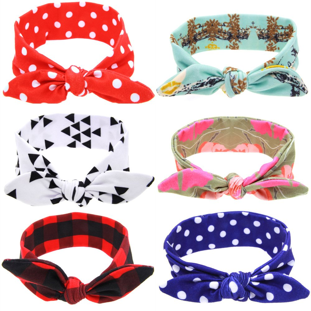 Baby Bow Knotted Headband Girl's Hair Accessories Band Head Wrap Headwear 6 Pcs (A) Cczmfeas KT028