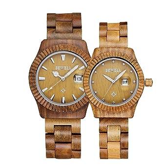 59da30b25ea Amazon.com  Bewell Men Women Couple watch Fashion Retro Wooden Watch Analog Quartz  Couple Watches for Him and Her Lovers  Wristwatch  Watches