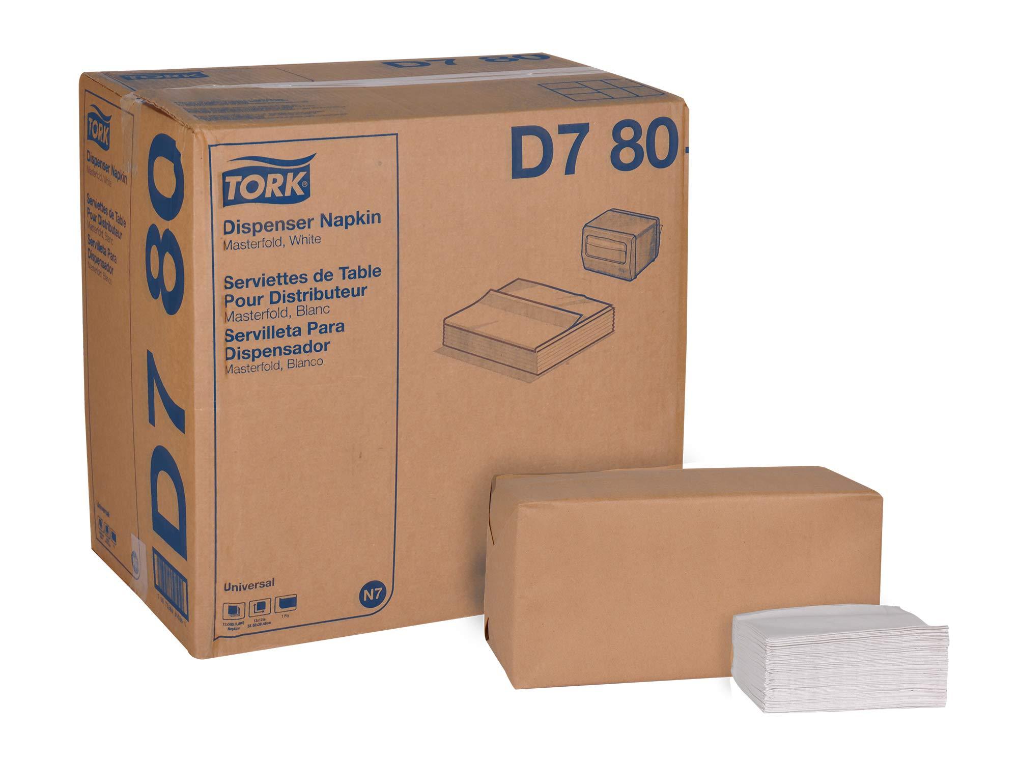 Tork Universal D780 Masterfold Dispenser Napkin ,1-Ply, 13'' Width x 12'' Length, White (Case of 12 Packs, 500 per Pack, 6,000 Napkins)