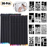 Journal Stencil Craft Accessories,Outgeek 36 PCS Bullet Fineliner Pens and Planner Stencils for DIY Drawing on Scrapbook,Journal, Notebook, Diary