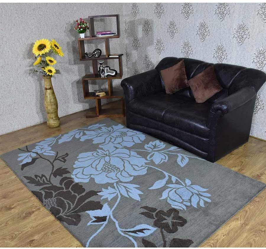 Rugsotic Carpets K00514t1403a9 5 X 8 Ft Hand Tufted Woolen Area Rug Grey Blue Floral Amazon Ca Home Kitchen