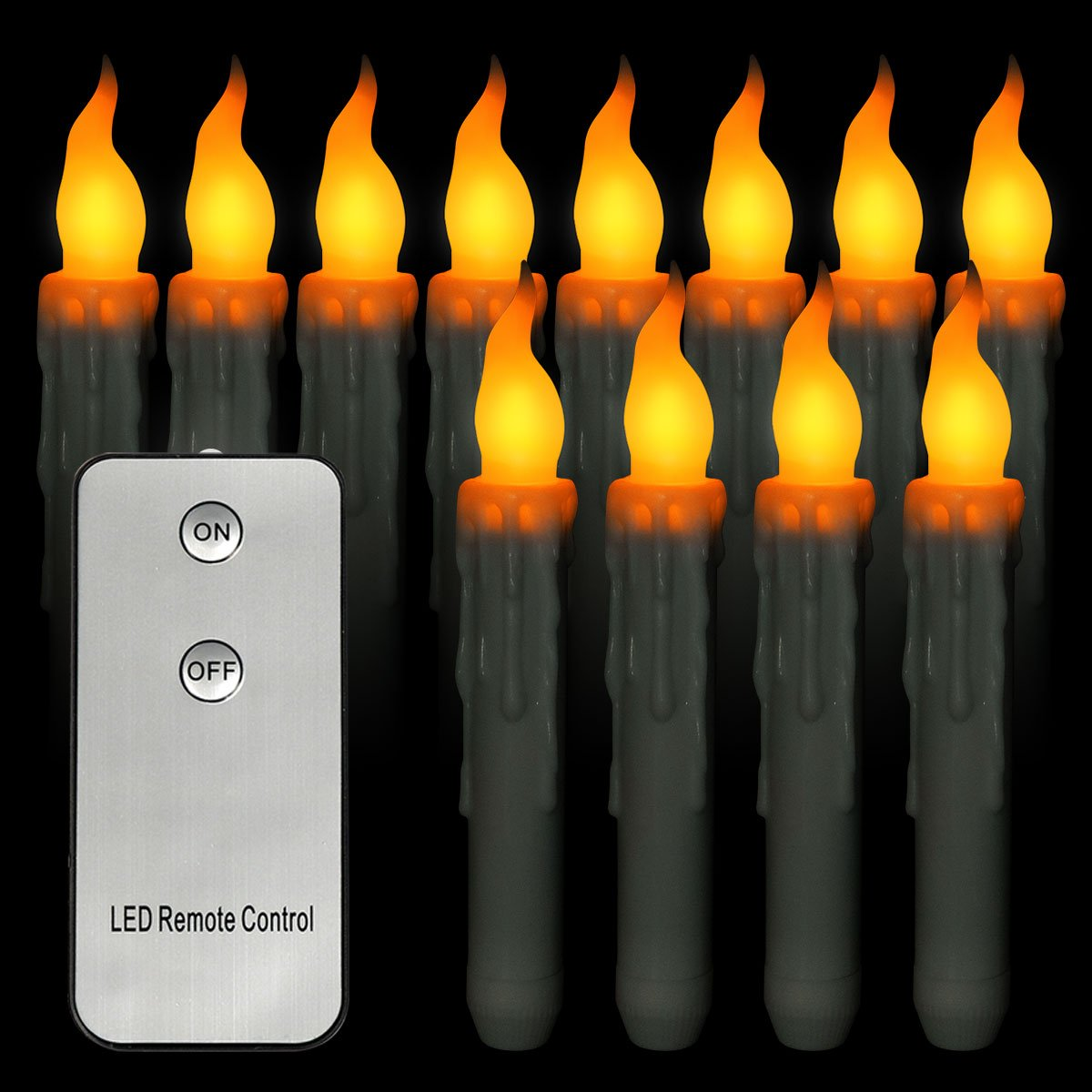 Taper Candles 12 Pack Flicker Flameless LED Remote Control Wax Dripped Battery Operated Electric Yellow Taper Candles for Halloween Christmas(Fit Most Candleholder,Battery not Included)