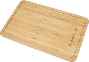 Bamboo Rectangular Serving Tray, Engraved Love Food Love Life 16 x 10 Inch Food Tray, Serving Platters for Coffee Wine Cocktail Fruit Meals