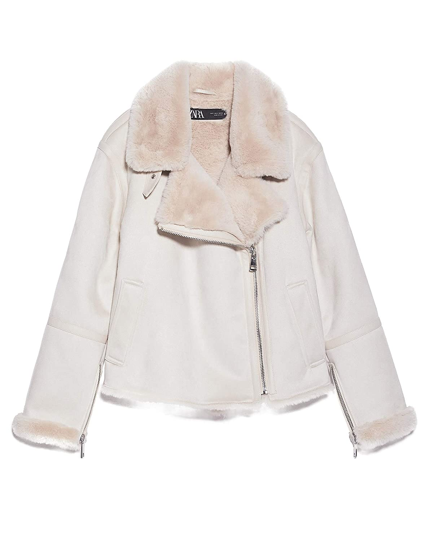 Zara 3833/221/712 - Chaqueta de Doble Cara para Mujer Blanco S ...