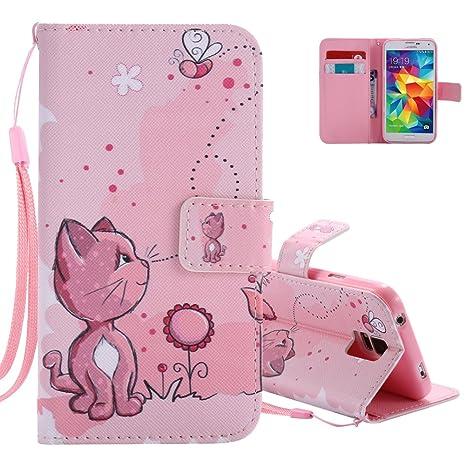 Aeeque para Samsung Galaxy S5 Funda protectora rosa, cuero con solapa Tope cuero PU [