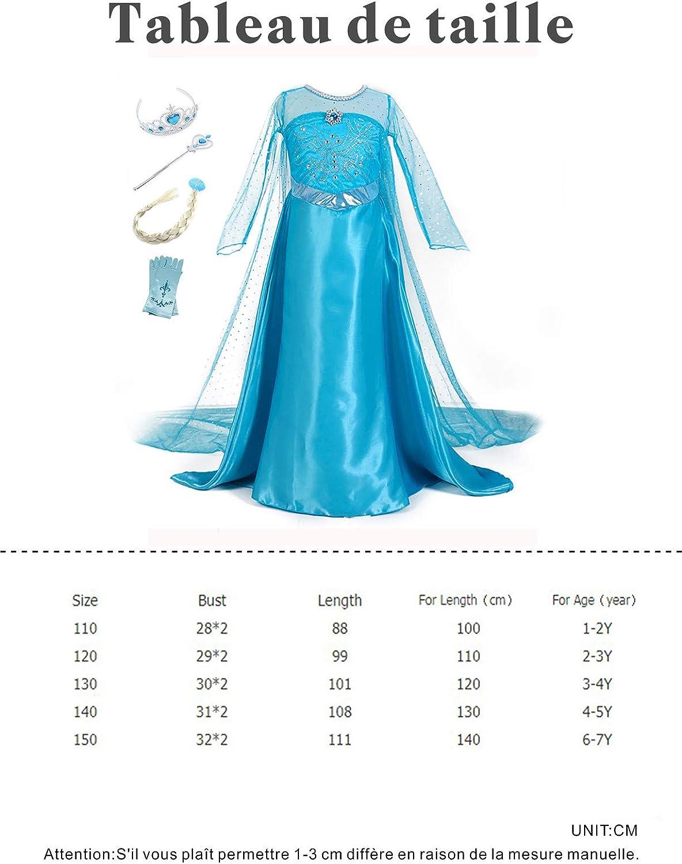 Monissy Costume Reine des Neiges Princesse Elsa Anna Robe Bleu Arabesque Imprim/é Manche Longue Tulle Cape Maxi Paillette Diad/ème Perruque Gants Baguette D/éguisement Halloween Anniversaire 3-10 Ans