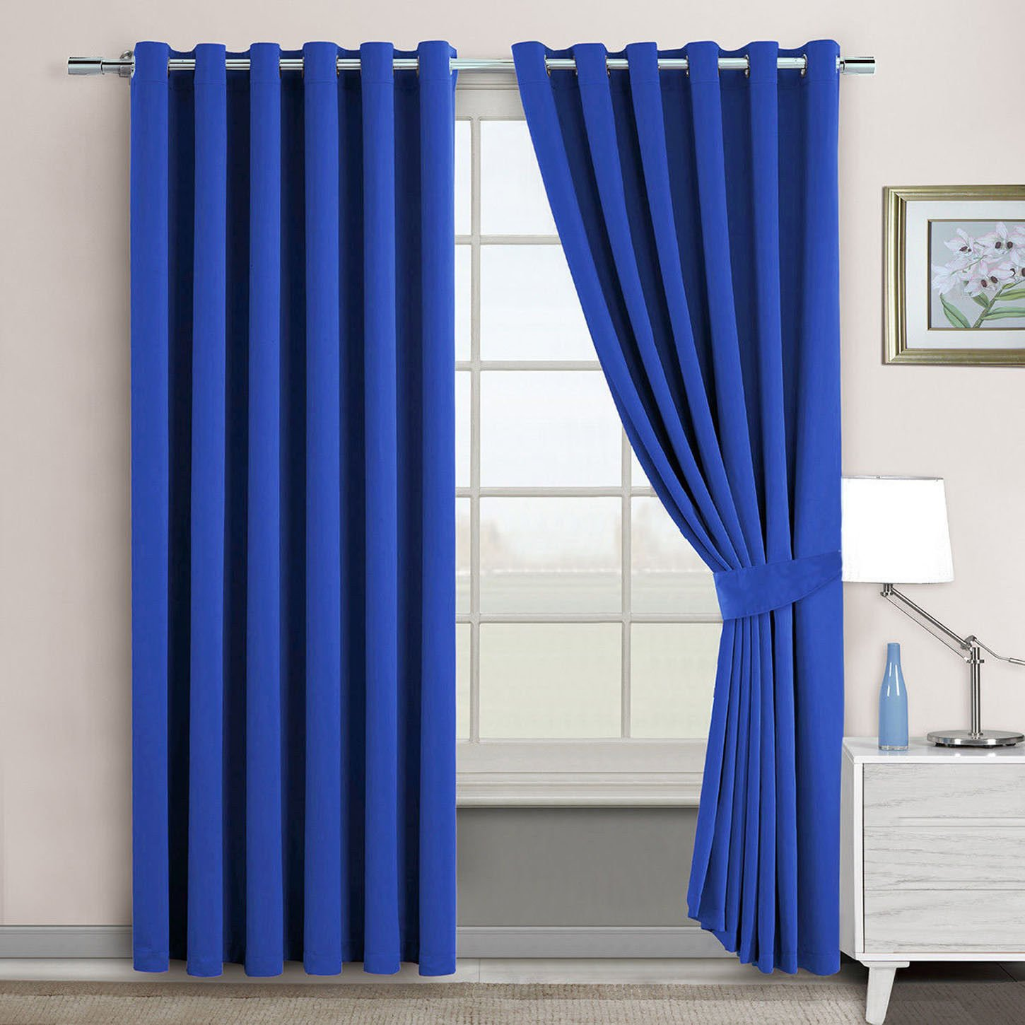 Blue, 46 x 54 Blue Eyelet Blackout Thermal Curtains Window Blinds Dark Room Curtains with Tiebacks