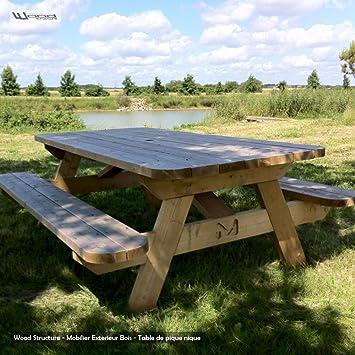 Table de Jardin L en Sapin du Nord pour 6/8 personnes - Table pique ...